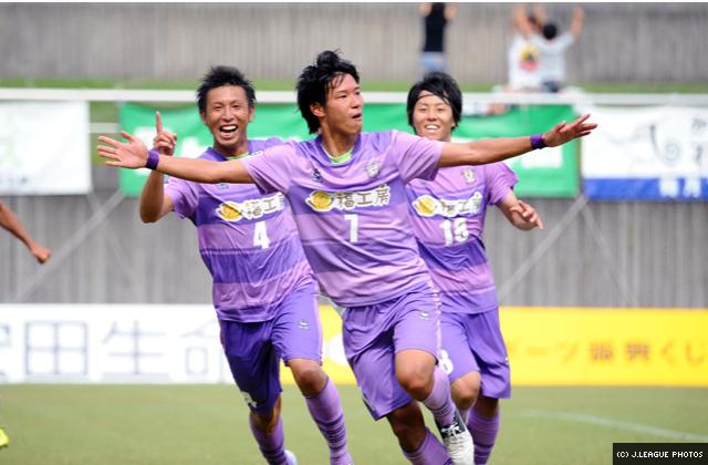 Sato celebrating his winning goal!